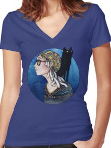 The Watcher and the Dreamer: color Women's Fitted V-Neck T-Shirt