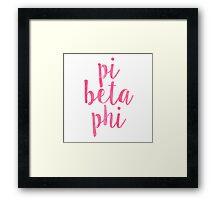pi phi pink script Framed Print