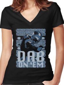 Dab on em Women's Fitted V-Neck T-Shirt