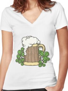 Beer Mug in Cartoon Style Women's Fitted V-Neck T-Shirt