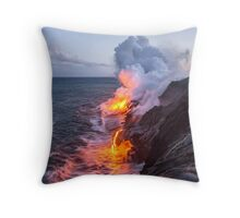 Kilauea Volcano Lava Flow Sea Entry 3- The Big Island Hawaii Throw Pillow