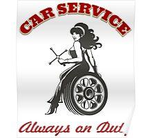 Car Service Retro Poster Poster
