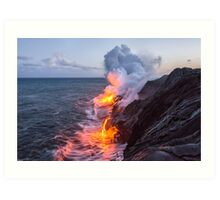 Kilauea Volcano Lava Flow Sea Entry 3- The Big Island Hawaii Art Print