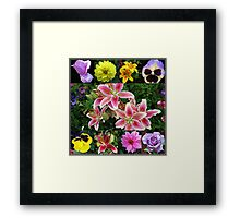 Moon and Stars - Roses and Lilies Collage Framed Print