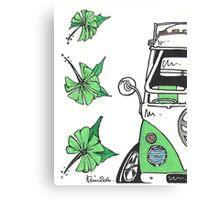 VW Camper Van Green Splity Canvas Print