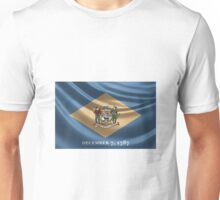 Delaware Coat of Arms over State Flag Unisex T-Shirt