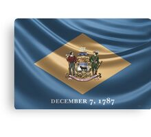 Delaware Coat of Arms over State Flag Canvas Print