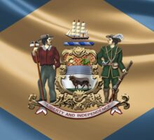 Delaware Coat of Arms over State Flag Sticker