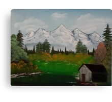 "Mystery Mountain-Oil on canvas-14""H by 18""W Canvas Print"