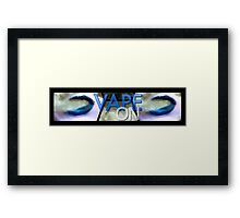 Blue Abstract Lips Vape On Banner Framed Print