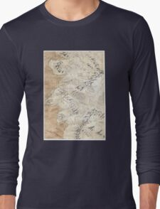 Lord Of The Rings Map - Hand Drawn * Notebooks and Journals added * Long Sleeve T-Shirt