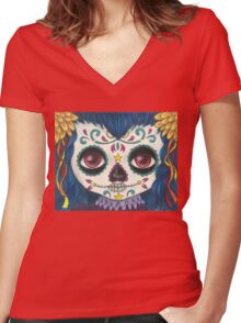Sugar Skull Girl Women's Fitted V-Neck T-Shirt