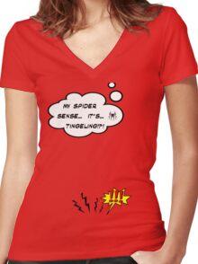 DAMN THIS SPIDER SENSE!?!!.. Women's Fitted V-Neck T-Shirt
