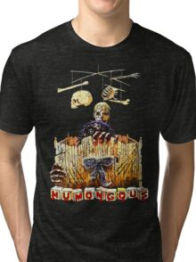 Here are the monster's little toys. Once they were little girls and boys. Tri-blend T-Shirt