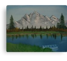 "Mountains By The Lake-Oil on canvas-14""H by 18""W Canvas Print"