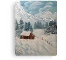 "Winter Cabin-Oil on canvas-24""H by 18""W Canvas Print"
