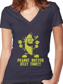 Banana Peanut Butter Jelly Time funny nerd geek geeky Women's Fitted V-Neck T-Shirt