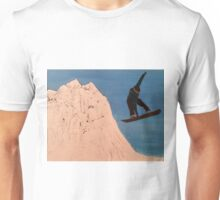"SNOWBOARDER-Oil on canvas-11""H by 14""W Unisex T-Shirt"