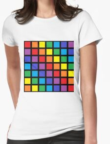 Rainbow Squares Black  Womens Fitted T-Shirt