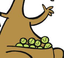 Cartoon of happy kangaroo serving tennis balls Sticker