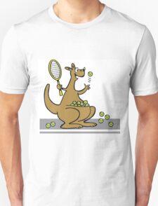 Cartoon of happy kangaroo serving tennis balls T-Shirt