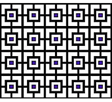 Black White and Purple Square Tiles Photographic Print