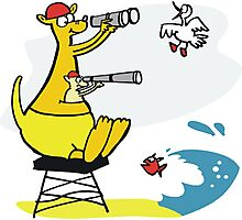 Cartoon kangaroo sitting on surf lifesaving tower Photographic Print
