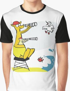 Cartoon kangaroo sitting on surf lifesaving tower Graphic T-Shirt