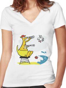 Cartoon kangaroo sitting on surf lifesaving tower Women's Fitted V-Neck T-Shirt