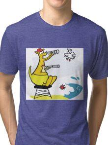 Cartoon kangaroo sitting on surf lifesaving tower Tri-blend T-Shirt