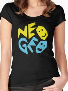 Neo Geo Tribute Yellow & Blue Logo Women's Fitted Scoop T-Shirt
