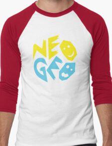 Neo Geo Tribute Yellow & Blue Logo Men's Baseball ¾ T-Shirt