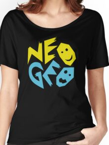Neo Geo Tribute Yellow & Blue Logo Women's Relaxed Fit T-Shirt