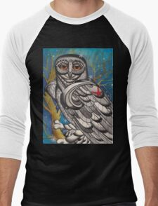 snowy owl with red star Men's Baseball ¾ T-Shirt