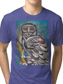 snowy owl with red star Tri-blend T-Shirt