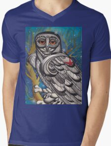 snowy owl with red star Mens V-Neck T-Shirt