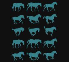 Wild Horses Equestrian Horseback Kids Tee