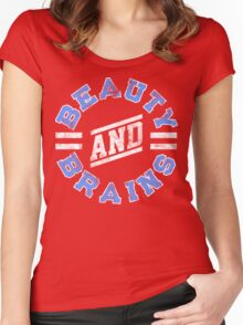 Beauty and Brains! Women's Fitted Scoop T-Shirt