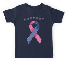 Pink & Blue Awareness Ribbon of Support Kids Tee