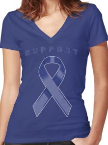 Blue Awareness Ribbon of Support Women's Fitted V-Neck T-Shirt