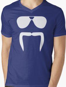 Aviator Sunglasses Horseshoe Fu Manchu Biker Mustache Mens V-Neck T-Shirt