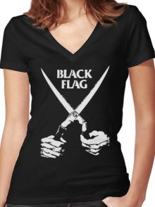 BLACK FLAG Women's Fitted V-Neck T-Shirt
