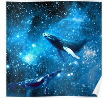 Space Whales and Scubba Diver Poster