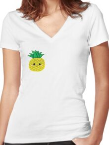 Cute Pineapple Women's Fitted V-Neck T-Shirt
