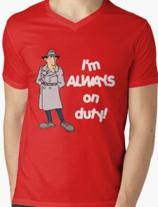 Inspector Gadget - I'm Always On Duty - White Font Mens V-Neck T-Shirt