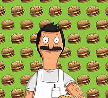 Bob Belcher Burger Pattern Green by Lucy Lier