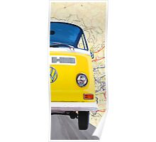 Sunny Yellow Classic VW Bus - Right Half Of Diptych Poster