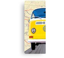 Sunny Yellow Classic VW Bus - Left Half Of Diptych Canvas Print