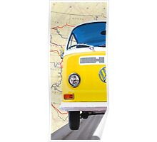 Sunny Yellow Classic VW Bus - Left Half Of Diptych Poster