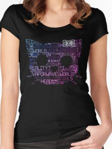 Vaporwave Hello Kitty Japanese Tumblr Word Cloud Women's Fitted Scoop T-Shirt